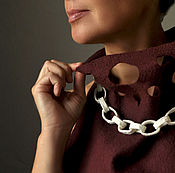 Украшения handmade. Livemaster - original item Necklace - chain, porcelain, silver. Handmade.