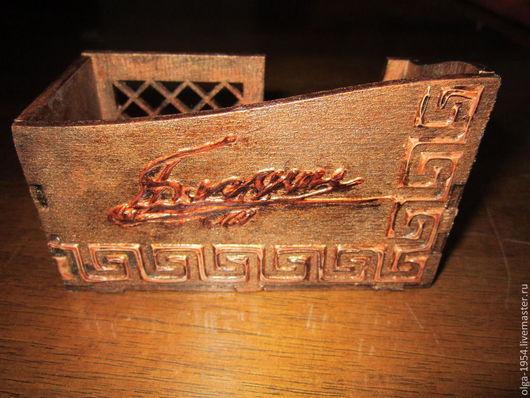 """Подарки для мужчин, ручной работы. Ярмарка Мастеров - ручная работа. Купить Визитница на рабочий стол """"Очень любимому и очень деловому"""". Handmade."""