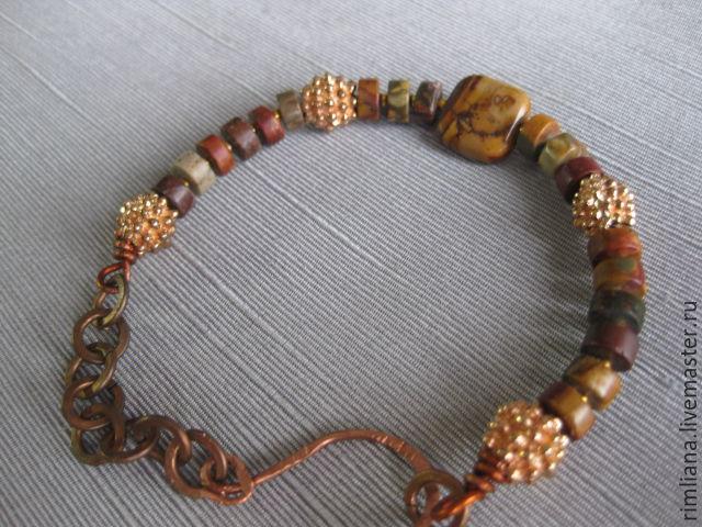 Bracelet genuine Jasper. Boho style, Bead bracelet, Moscow,  Фото №1
