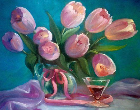 """Натюрморт ручной работы. Ярмарка Мастеров - ручная работа. Купить """"Тюльпаны"""". Handmade. Комбинированный, красивый подарок, картина маслом"""