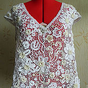 Одежда handmade. Livemaster - original item Lace Blouse White flowers, Irish lace crochet. Handmade.