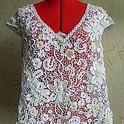 Одежда ручной работы. Ярмарка Мастеров - ручная работа Кружевная Блуза Белые цветы Ирландское кружево вязаная. Handmade.