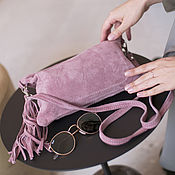 Сумки и аксессуары handmade. Livemaster - original item Pink Crossbody Bag Suede Crossbody Clutch Suede. Handmade.