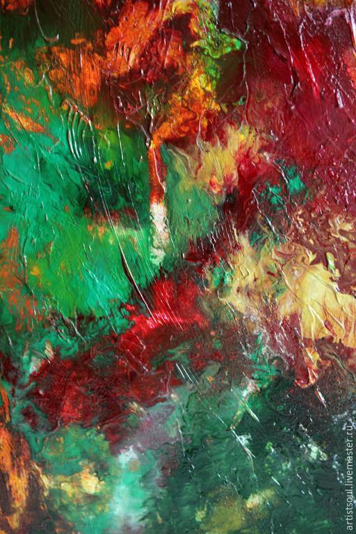 Абстракция ручной работы. Ярмарка Мастеров - ручная работа. Купить Абстрактная живопись. Birth.. Handmade. Ярко-красный, взрыв, холст