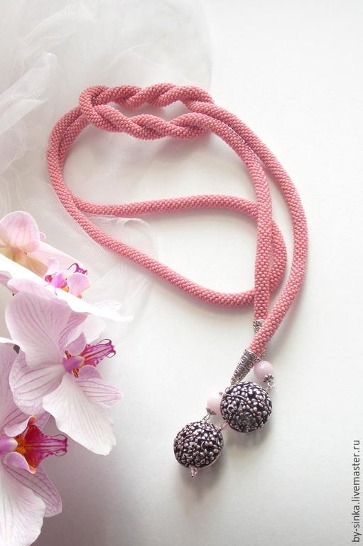 """Лариаты ручной работы. Ярмарка Мастеров - ручная работа. Купить Лариат """"Вальс цветов"""". Handmade. Бледно-розовый, жгут бисер"""