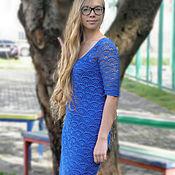 Одежда ручной работы. Ярмарка Мастеров - ручная работа Синее платье вязаное крючком  с рукавом в городском стиле. Handmade.