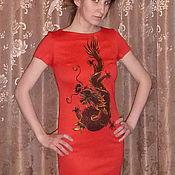 """Одежда ручной работы. Ярмарка Мастеров - ручная работа Платье """"Черный дракон на красном"""". Handmade."""
