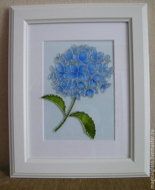 """Картины цветов ручной работы. Ярмарка Мастеров - ручная работа. Купить Картина на стекле """"Голубая гортензия"""". Handmade. Голубой"""