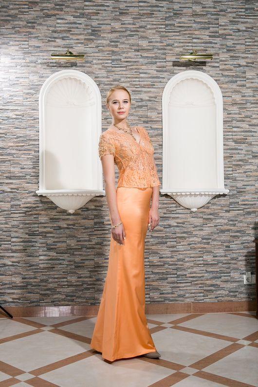 Платья ручной работы. Ярмарка Мастеров - ручная работа. Купить Платье-костюм из натурального шёлка и расшитого кружева. Handmade. Оранжевый