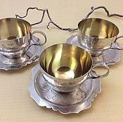 Серебро 960 пробы. Три чайные пары. Корея/СССР.