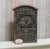 Для дома и интерьера ручной работы. Ярмарка Мастеров - ручная работа Почтовый ящик металлический Коричневый с золотистым. Handmade.