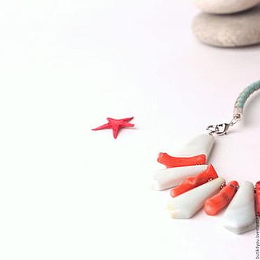 """Украшения ручной работы. Ярмарка Мастеров - ручная работа """"Мальдивы"""" Колье из амазонита коралла и кожи. Handmade."""