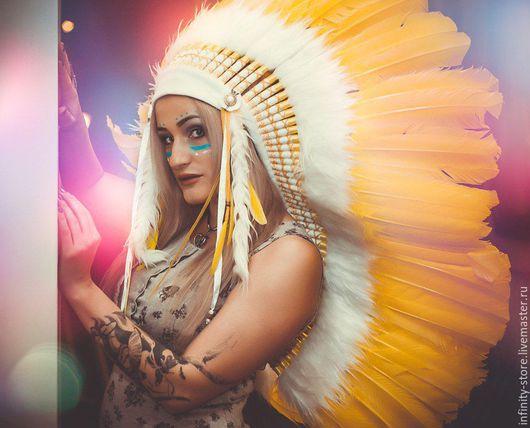 Этническая одежда ручной работы. Ярмарка Мастеров - ручная работа. Купить Индейский головной убор - Солнечный Нарцисс. Handmade. Желтый