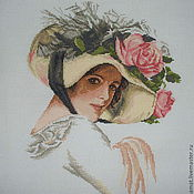 Картины и панно ручной работы. Ярмарка Мастеров - ручная работа Вышивка крестом Красавица в шляпке. Handmade.
