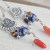 Украшения handmade. Livemaster - original item Earrings in BOHO style with carnelian