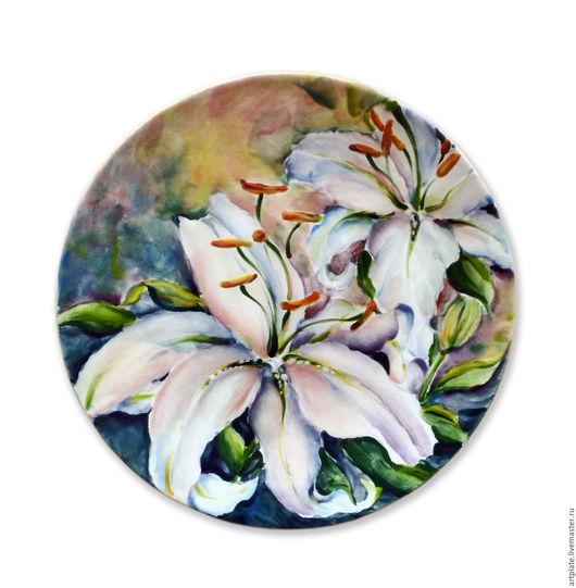 Керамическая тарелка `Лилии`. Керамика ручной работы. Ярмарка мастеров.