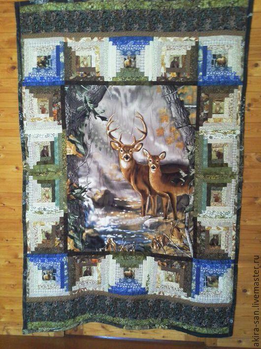 Текстиль, ковры ручной работы. Ярмарка Мастеров - ручная работа. Купить Лоскутное одеяло-панно Олени и другие обитатели леса. Handmade.
