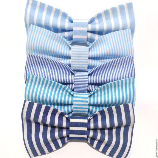 Галстуки, бабочки ручной работы. Ярмарка Мастеров - ручная работа. Купить Галстук-бабочка голубая полосатая в полоску синяя морская бирюзовая. Handmade.