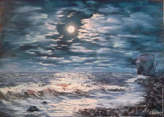 Пейзаж ручной работы. Ярмарка Мастеров - ручная работа. Купить Картина маслоночь50/70Аметистовый берег Белого моря,Мурманская область. Handmade.