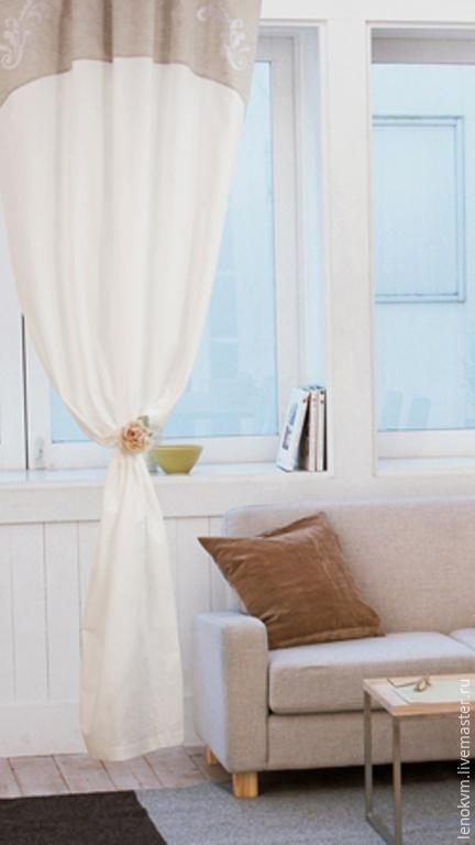 Текстиль, ковры ручной работы. Ярмарка Мастеров - ручная работа. Купить Льняные шторы. Handmade. Белый, лен, льняная