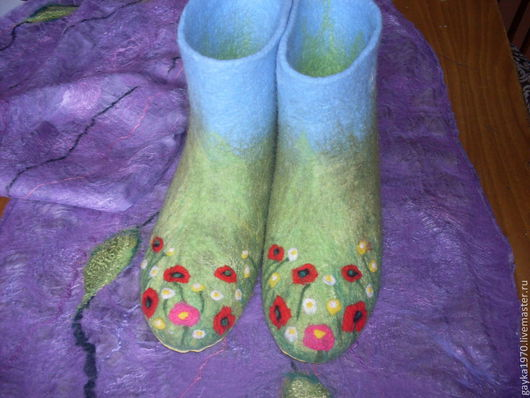 """Обувь ручной работы. Ярмарка Мастеров - ручная работа. Купить Валенки домашние """" Цветочная поляна"""". Handmade. Зеленый, валенки"""