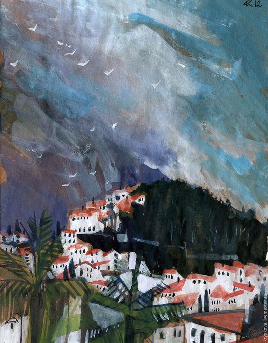 Анна Крюкова (impression-живопись) Картина море Город пейзаж картина Городской пейзаж Акварель картина