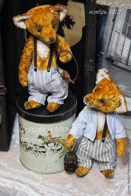 """Мишки Тедди ручной работы. Ярмарка Мастеров - ручная работа. Купить """"Мэтью и Джордж"""" птицеловы. Handmade. Рыжий, хлопковая ткань"""