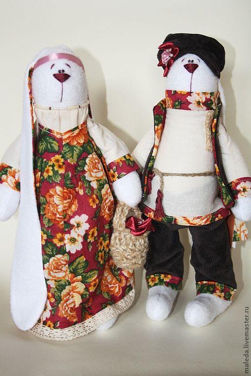 Игрушки животные, ручной работы. Ярмарка Мастеров - ручная работа. Купить зайки русские. Handmade. Зайка, зайки, цветочный