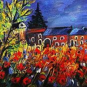 Картины и панно handmade. Livemaster - original item Landscape with poppies. Handmade.