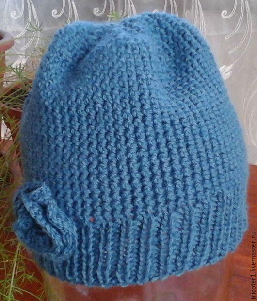 Шапки ручной работы. Ярмарка Мастеров - ручная работа. Купить шапка вязаная синяя (мод.4). Handmade. Шапка вязаная