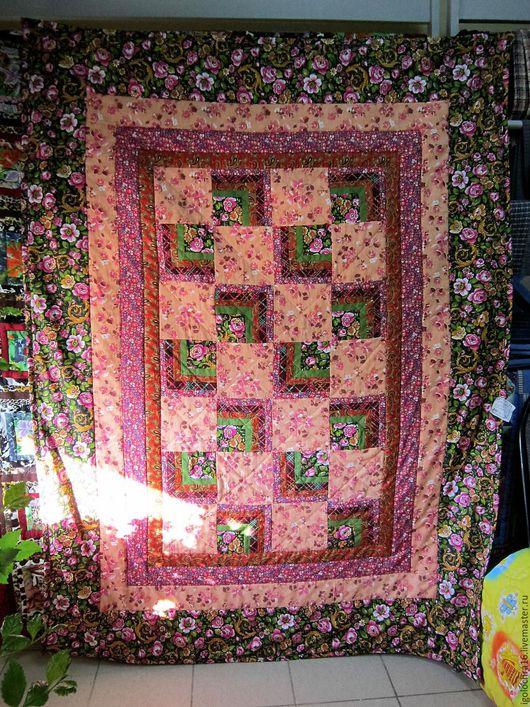 Лоскутное одеяло-покрывало` Летний сад`.