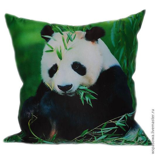 Текстиль, ковры ручной работы. Ярмарка Мастеров - ручная работа. Купить Подушка с пандой. Handmade. Зеленый, декоративная подушка