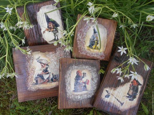 Фантазийные сюжеты ручной работы. Ярмарка Мастеров - ручная работа. Купить Картина панно --Волшебные  гномы -- 5 картин. Handmade.