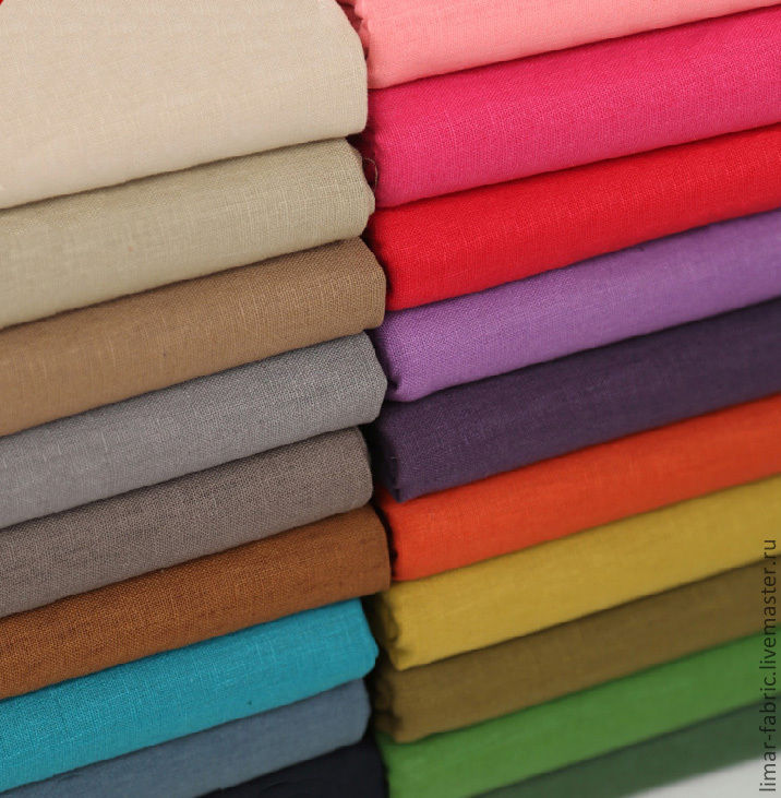 ручной работы. Ярмарка Мастеров - ручная работа. Купить Льняная ткань, 20 цветов. Handmade. Ткань, лён