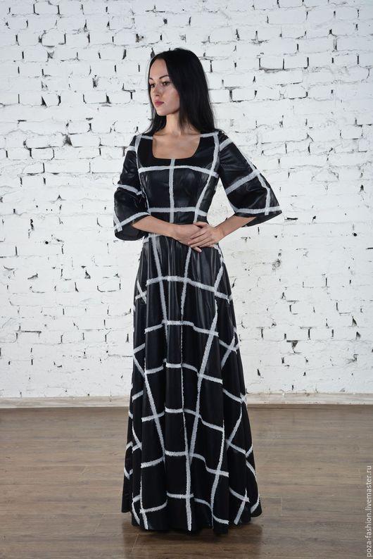 Платья ручной работы. Ярмарка Мастеров - ручная работа. Купить Платье в клетку,расшитое шифоном. Handmade. Чёрно-белый