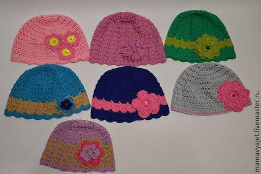 Шапки и шарфы ручной работы. Ярмарка Мастеров - ручная работа. Купить Ажурная шапочка с цветком для девочки в ассортименте. Handmade. Разноцветный