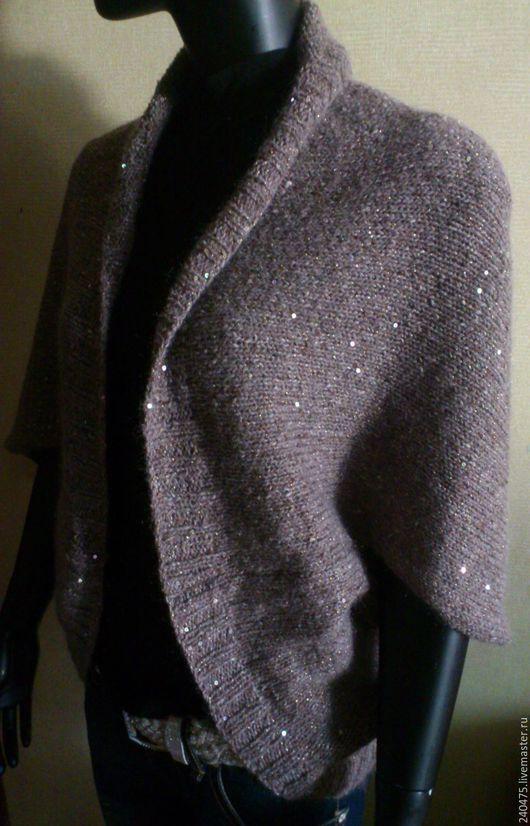 Кофты и свитера ручной работы. Ярмарка Мастеров - ручная работа. Купить накидка твидовая. Handmade. Коричневый, твид, нарядный, люрекс