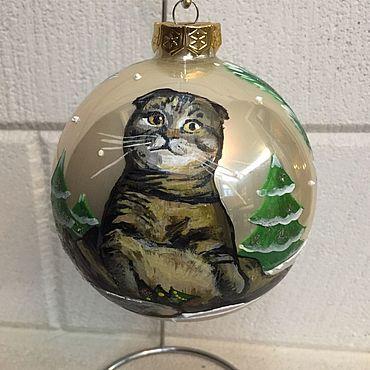 Сувениры и подарки. Ярмарка Мастеров - ручная работа Елочный шар с портретом кота. Handmade.