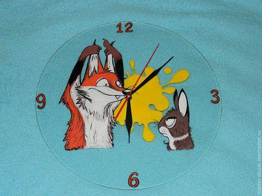 Часы для дома ручной работы. Ярмарка Мастеров - ручная работа. Купить хитрый лис. Handmade. Интерьер кухни, дизайн интерьера