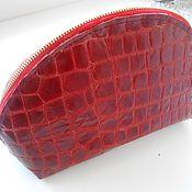 Сумки и аксессуары handmade. Livemaster - original item Cosmetic bag made of Italian leather with CROC-embossed red lacquer. Handmade.