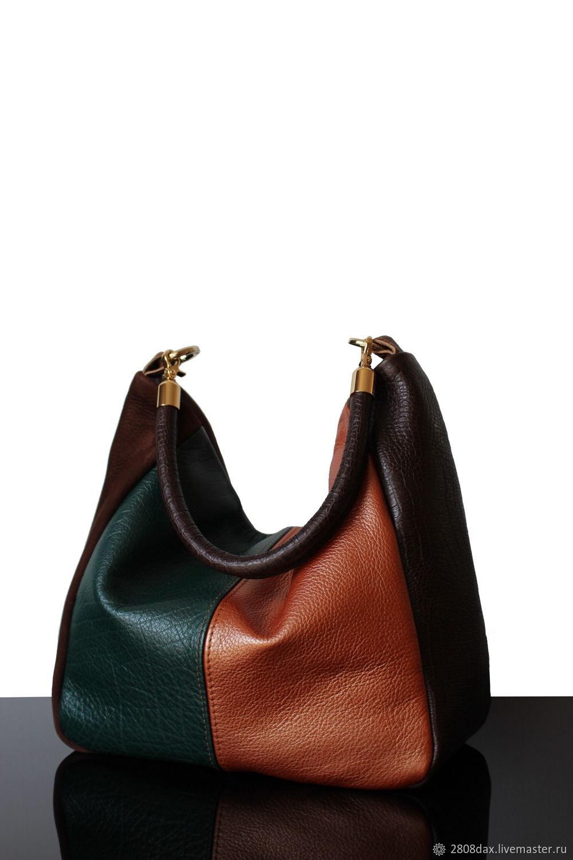Autumne Blues leather bag dark green and orange, Classic Bag, Bordeaux,  Фото №1