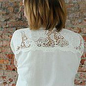 Одежда handmade. Livemaster - original item Long lace shirt openwork stitching cotton. Handmade.