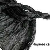 Материалы для творчества ручной работы. Ярмарка Мастеров - ручная работа Чернее сажи  Шелковый палантин  170 на 90 см. Handmade.