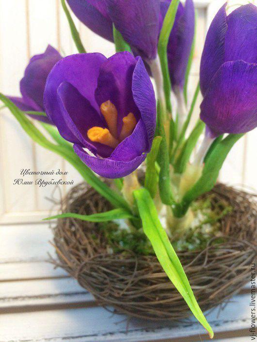 """Интерьерные композиции ручной работы. Ярмарка Мастеров - ручная работа. Купить """"Весна пришла!"""". Handmade. Фиолетовый, весенний букет"""