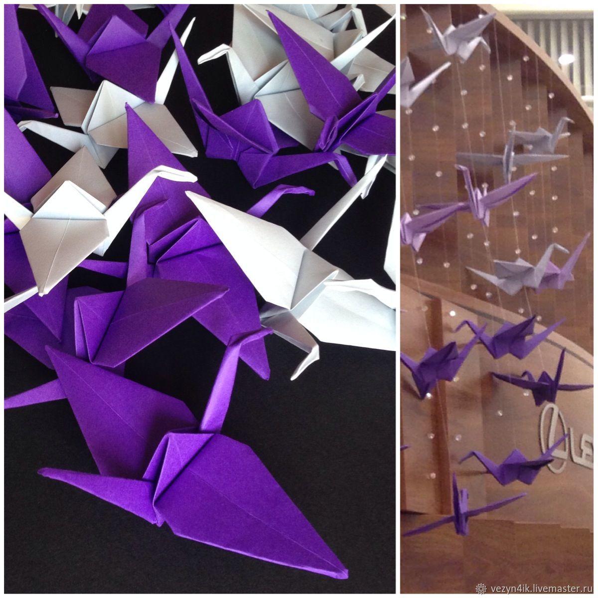 Праздничная атрибутика ручной работы. Ярмарка Мастеров - ручная работа. Купить Журавлики оригами на леске. Handmade. Разноцветный, оригами гирлянда