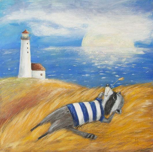 Пейзаж ручной работы. Ярмарка Мастеров - ручная работа. Купить Умиротворённый енот. Handmade. Оранжевый, желтый, голубой, море, маяк