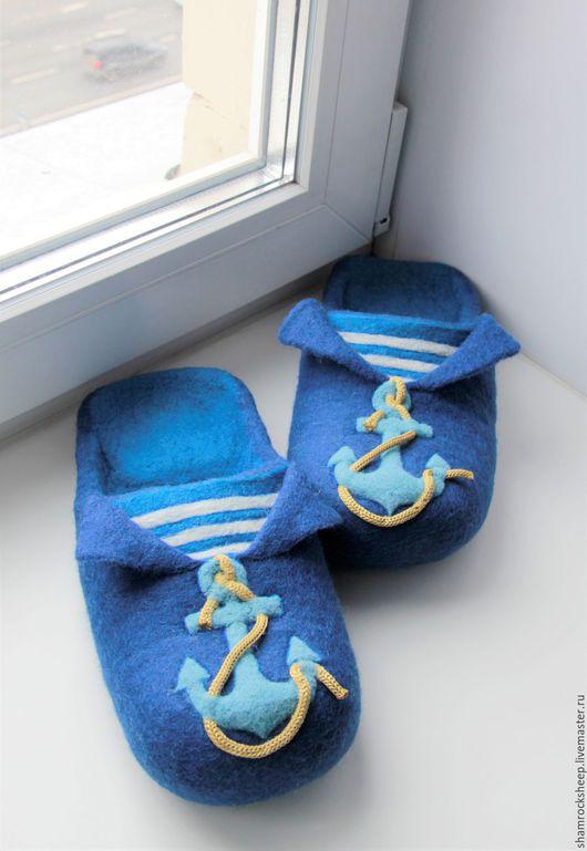 """Обувь ручной работы. Ярмарка Мастеров - ручная работа. Купить Мужские тапочки """"Флотские"""". Handmade. Вмф, морфлот, служба, белый"""
