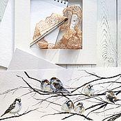 Картины и панно ручной работы. Ярмарка Мастеров - ручная работа Акварель. Стайка воробьев. Handmade.