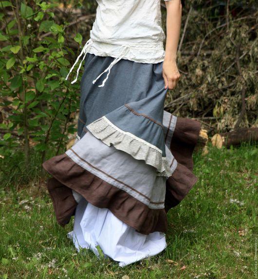 """Юбки ручной работы. Ярмарка Мастеров - ручная работа. Купить Льняная юбка """"Фантазия сна"""". Handmade. Бежевый, летняя юбка"""
