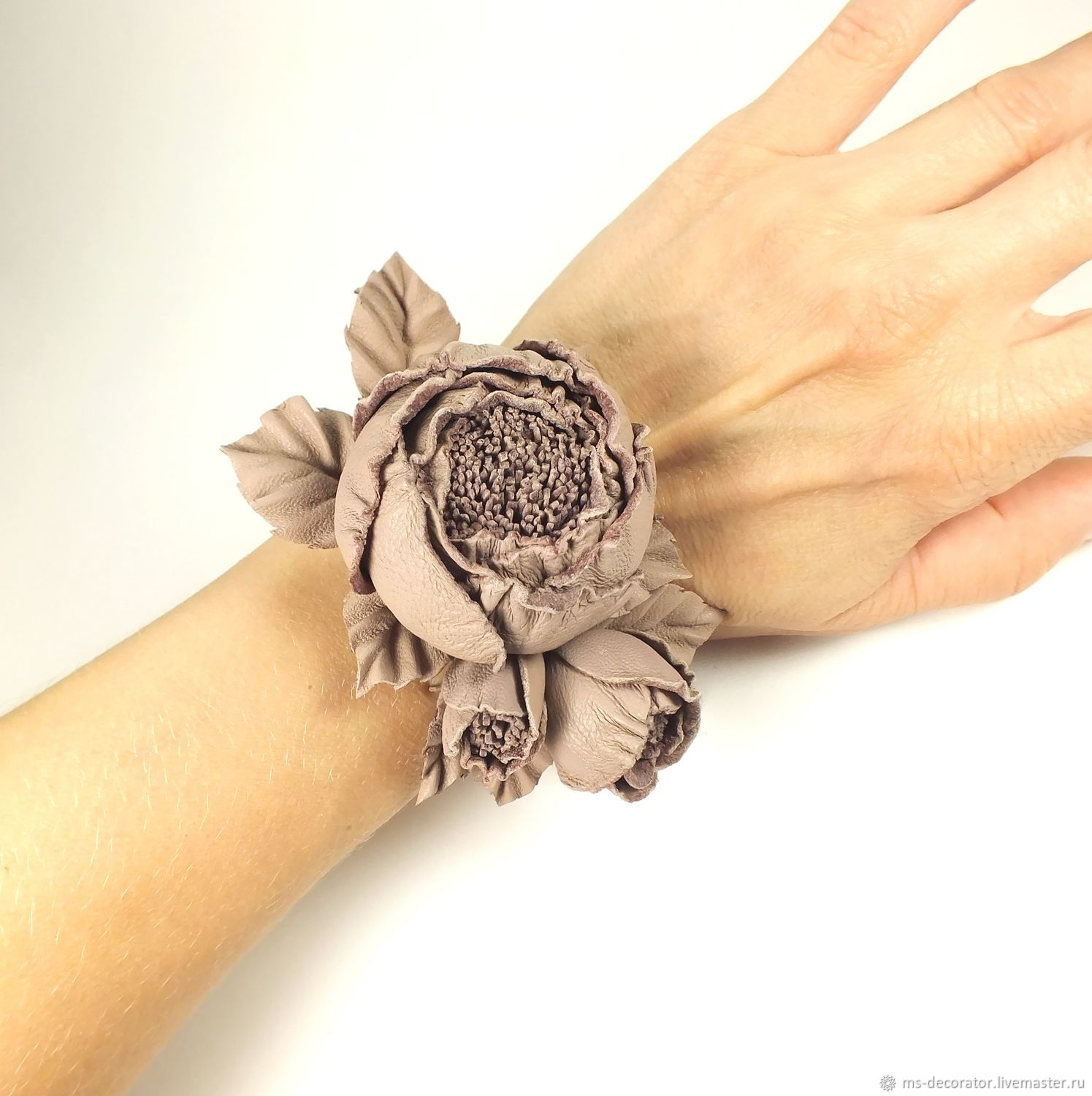 Handmade leather bracelet with flowers Rose dance Powder, Bead bracelet, St. Petersburg,  Фото №1